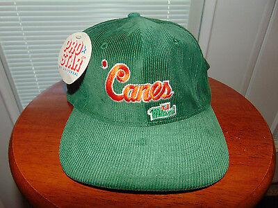 90s Miami Hurricanes COLLEGE Football Cap Canes CORDUROY Hat SNAPBACK 1990's NEW ()