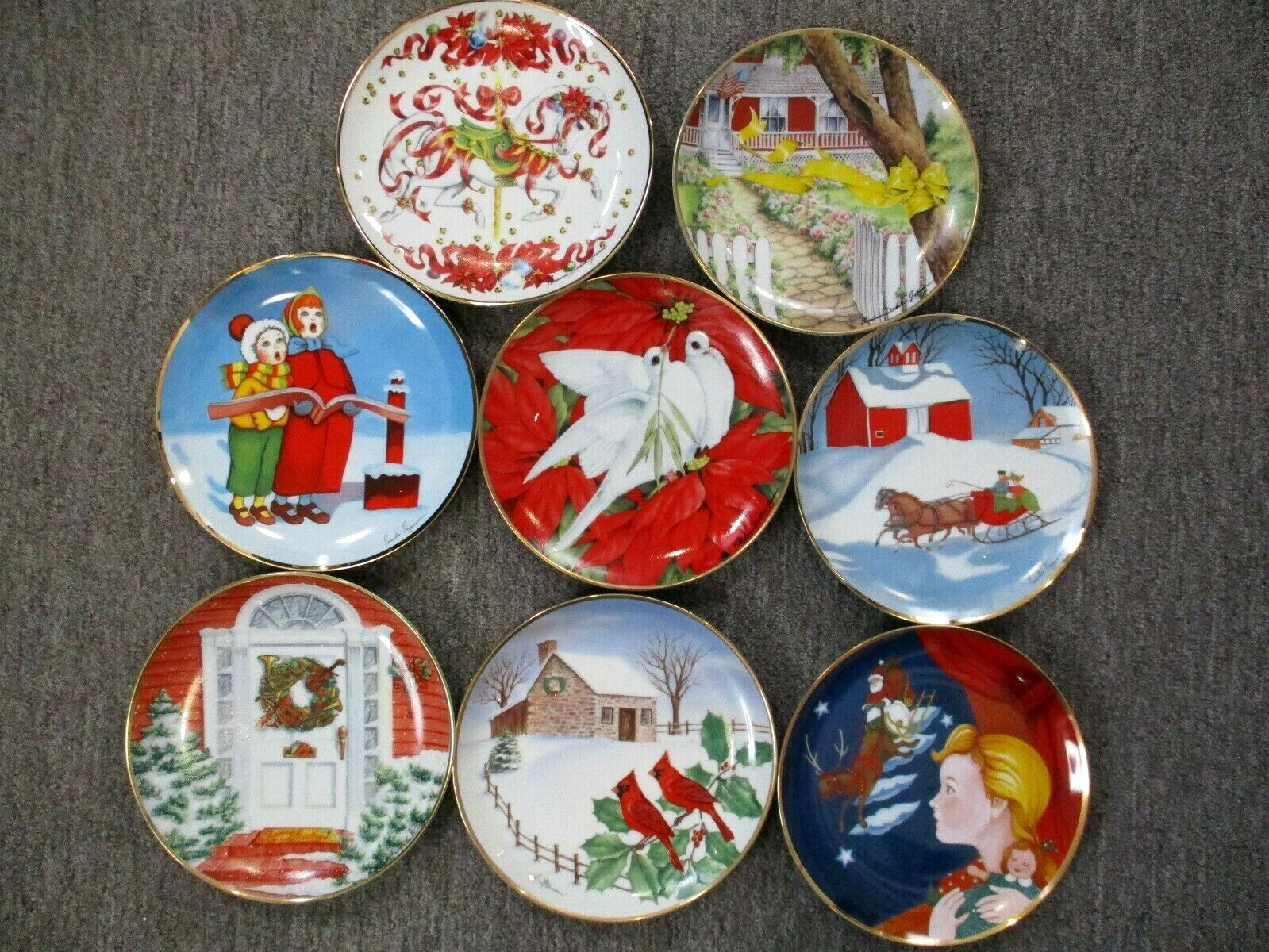 Franklin Mint Lot Of 7 Annual Christmas Collectors Plates Plus Homecoming Plate