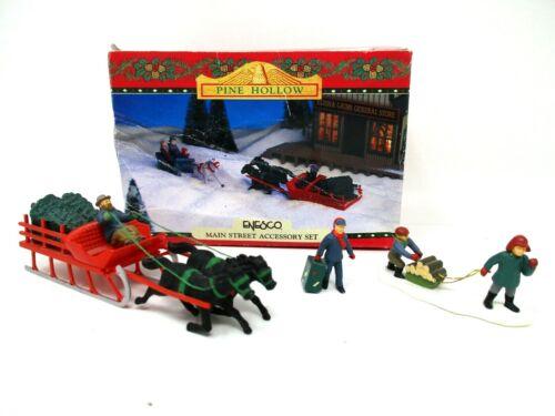 Vintage Enesco Christmas Figurines Pine Hollow Main Street Sled People miniature