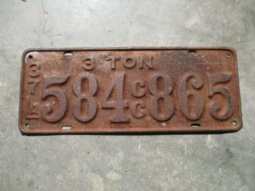 Louisiana 1937 3 TON license plate  #   584 865