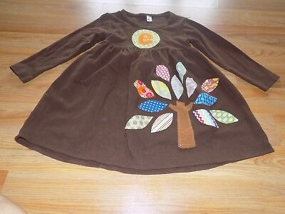 Size 6 Monag Brown Casual Autumn Dress Monogram E Fall Tree Colored Leaves EUC - Monogrammed Girls Clothes