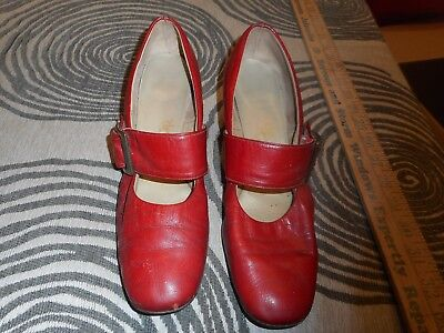 Vintage Leather Red Buckle Shoes
