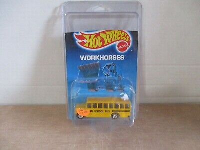 HOT WHEELS VINTAGE WORKHORSES SCHOOL BUS - DAMAGED CARD W/ PROTECTO