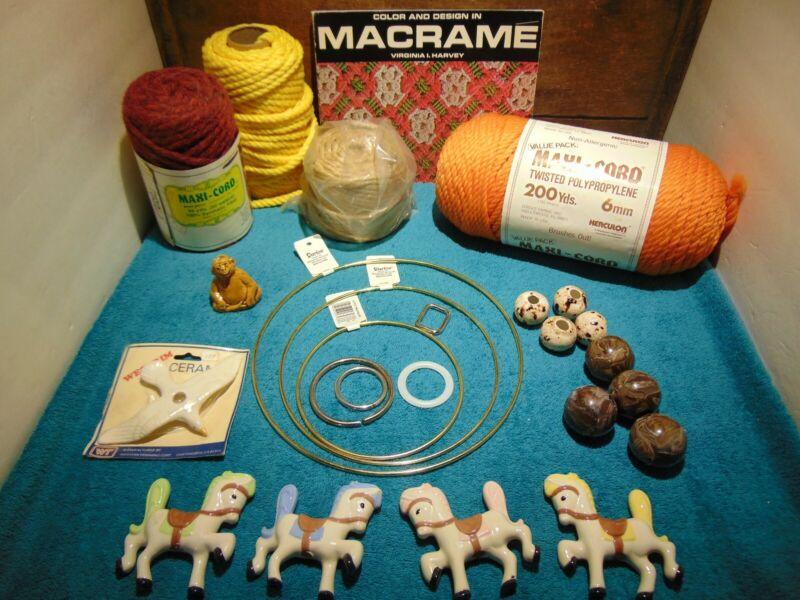 Storage Locker Find. Macrame Lot, Cord, Rings, Beads, Macrame Book, Horses