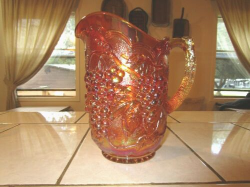 Imperial Grape Marigold Pitcher Iridescent Carnival Glass