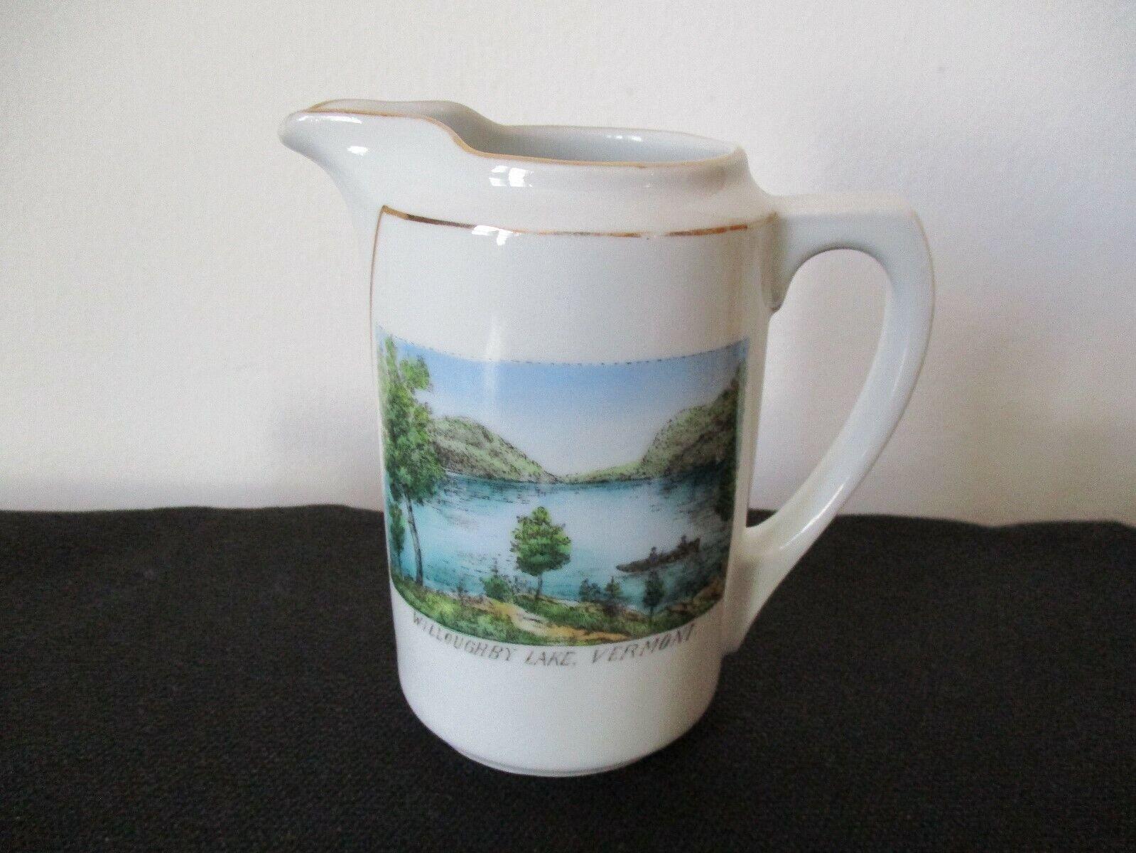 Circa 1915 Souvenir Porcelain Creamer Willoughby Lake Orleans Vermont