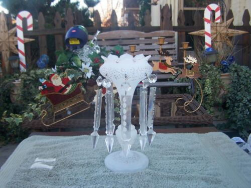 beautiful  frosted hand painted mantle luster  with clear  crystal spears