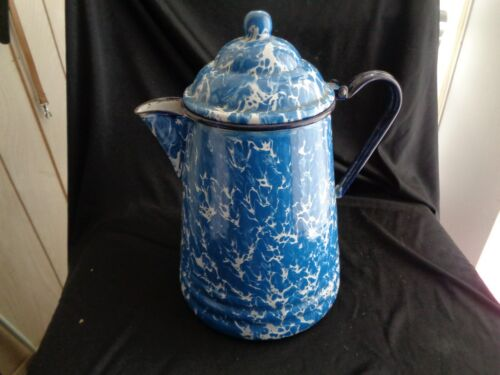 Vintage Graniteware 8 1/2 Inch Blue & White Swirl Coffee Pot