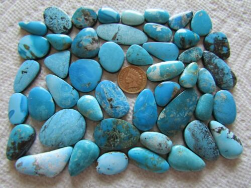 47 Mixed Turquoise Cabs 500 carats Blue Green Cabochons Wholesale Lot