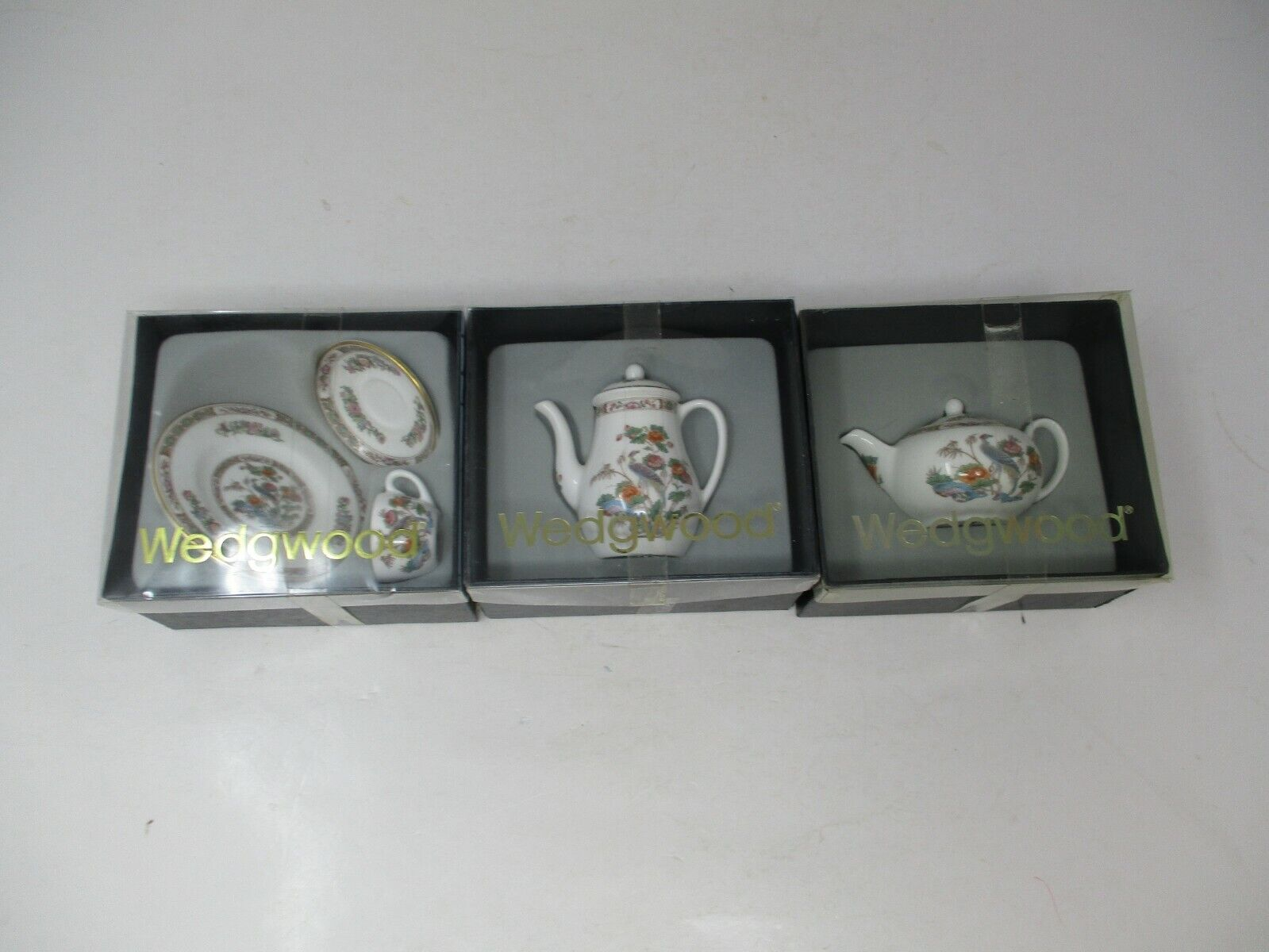 3 Wedgwood Kutani Crane Mini Sets w/ Original Boxes (R4682)