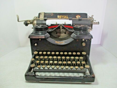 Vintage 1925 ROYAL Manual Typewriter with Bevel Glass Sides S/N 12 - 1,079,693