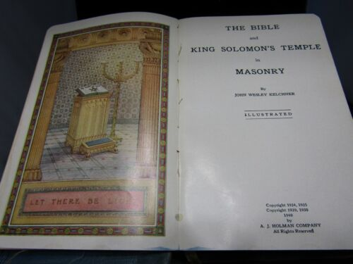 Vintage 1940s-50s Masonic Bible- Thatcher Lodge- Great Light in Masonry- Named