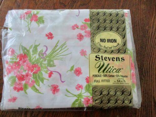 Sealed in Package Vintage Stock  Utica Stevens Standard Full Fitted Sheet 54X76