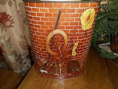Vintage Marvell Kilgore Metal Decorative Waste Basket Trash Can Hearth Brick - Decorative Metal Waste Basket