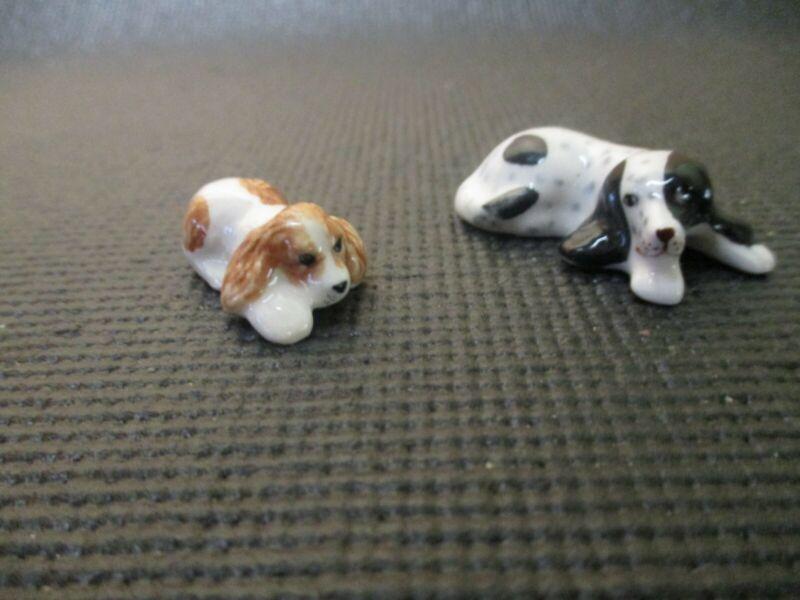 Pair of spaniel bone china miniatures