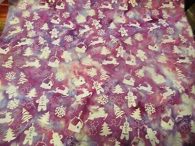 Cotton Batik Fabric 1 Fat Quarter Pink & Purple Holiday Christmas Designs ()