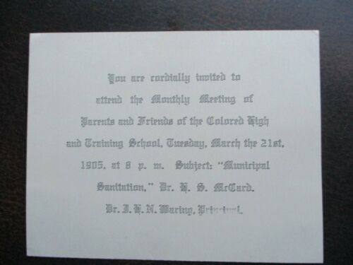 1905 Colored High School Baltimore Dr. James N.H. Waring (Principal) card,cover!