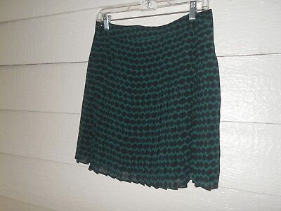 ANN TAYLOR LOFT Women's Size 4P Lined Pleated Skirt Forest Green/Black BNWT