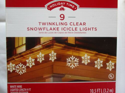 HOLIDAY TIME 9 TWINKLING CLEAR SNOWFLAKE ICICLE LIGHTS - NEW