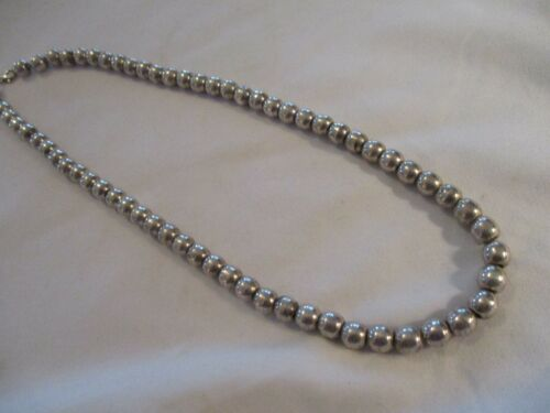 STERLING SILVER HEAVY BEADED NECKLACE 20 INCHES LONG VERY PRETTY 61.6 GRAMS