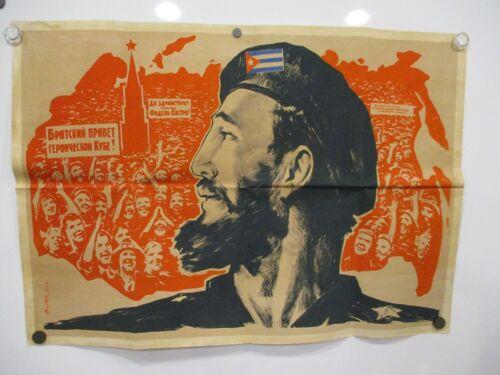 USSR SOVIET ORIGINAL 1963 POSTER FIDEL CASTRO CUBA REVOLUTION RARE VG CONDITION