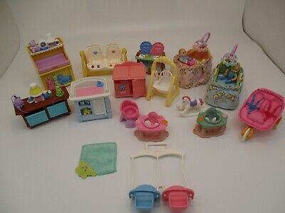 Vintage Fisher Price Loving Family Lot Twins Babies With Nursery Furniture