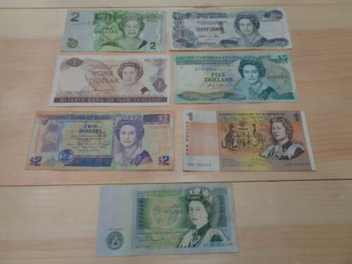 Mix of 7 of Foreign Banknotes Circulated World Currency With Queen Elizabeth