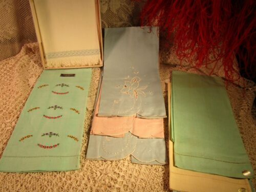 VINTAGE 8 LINEN HAND TOWELS -MOST WITH LABELS- HAND WORK