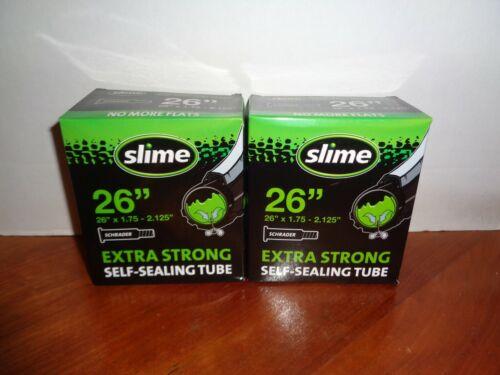 """Lot 2 Slime 26 Inch Self Sealing Smart Tubes Schrader Valve 26"""" X 1.75 - 2.125"""""""