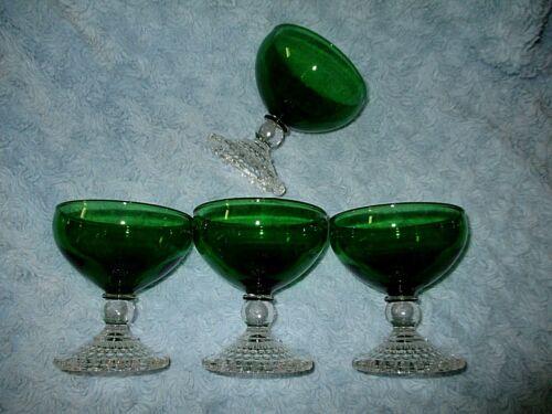 Vintage Anchor Hocking 4 Forest Green Boopie Sherbet Dessert Bar Stems EUC