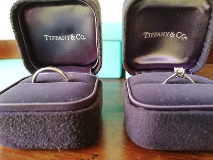 Tiffany & Co Lucida diamond engagement ring and wedding ring