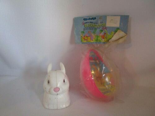 """1995 Topps Co. 5""""  Plastic White Bunny Bank & Large 6"""" Bleyasaurus Egg Easter"""