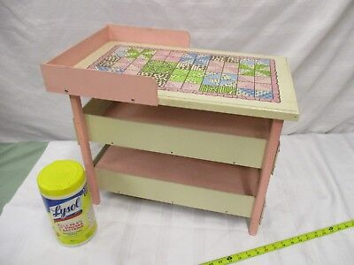 Vintage wooden doll changing table pink white pretend play furniture fun shelf Antique White Changing Table