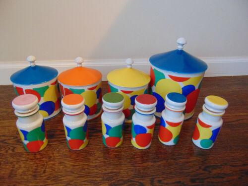 VINTAGE CAPRI BY MARIA KITCHEWARE JARS SET OF 10 RARE