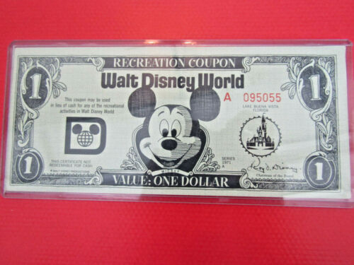 "Disney 1 Dollar (Recreation Coupon), 1971 ""A"" Series (Disney World) Florida GEM"
