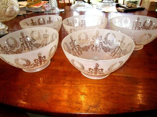Antique victorian etched glass gas shades (5) matching