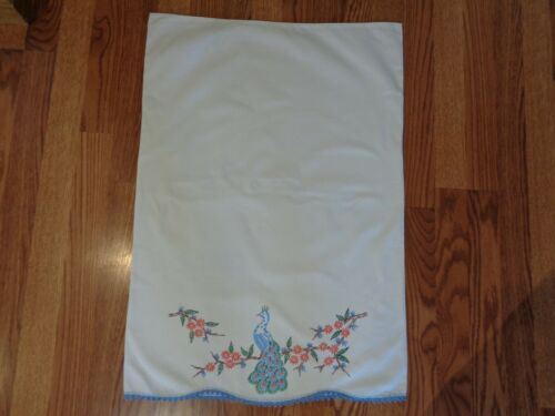 VINTAGE SWEET HAND PAINTED PILLOW CASE COTTON MUSLIN PEACOCK PERFECT NEVER USED