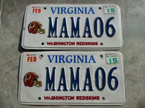 Virginia 2015 Washington Redskins license plate pair #   MAMA06