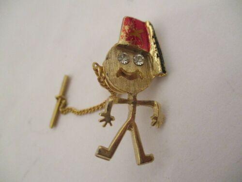 Vintage Shriners Masonic Tie Tack Lapel Pin Stick Figure Fez Rhinestone Eyes