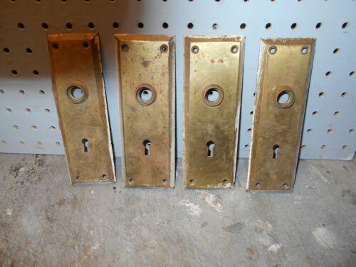 VINTAGE BRASS ART DECO STYLE FANCY DOOR KNOB BACK PLATES..lot of 4