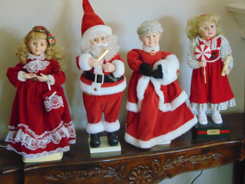 one lot of four animated Christmas figures