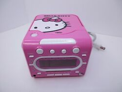 Hello Kitty CD Player AM/FM Radio Alarm Clock Pink White KT2053A Sanrio Works