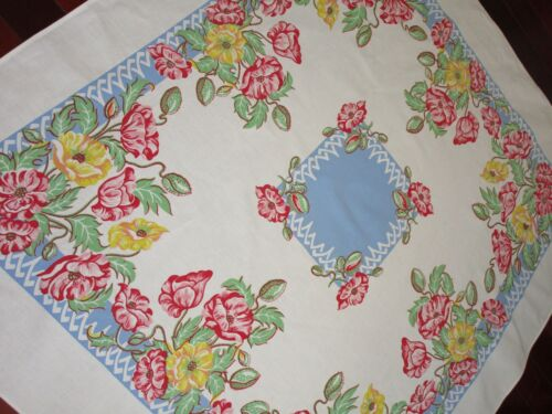 Vintage 1940s FLORAL TABLECLOTH ~ red/pink/yellow/mint FLOWERS on LATTICE  56x48