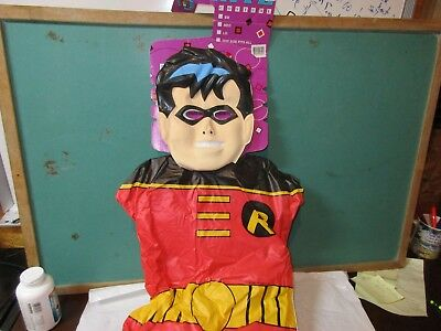 Childs vinyl robin costume red green from batman party Halloween mask dc comics ()