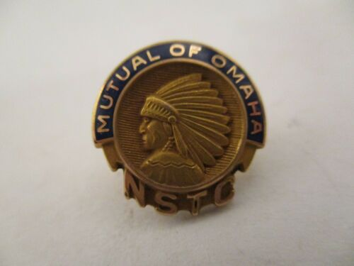 Vintage Mutual of Omaha NSTC Lapel Pin Indian Head Logo 1/10 10K Gold Filled