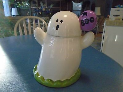 HALLOWEEN BOO Hand Painted Cookie Jar - A GHOST