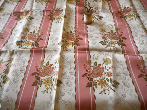 Vintage French Floral Stripe Satin Lisere Brocade Jacquard Fabric ~ Rose Melon