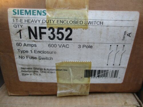 SIEMENS NF352, 60 AMP 600 VOLT 3 POLE DISCONNECT- NEW