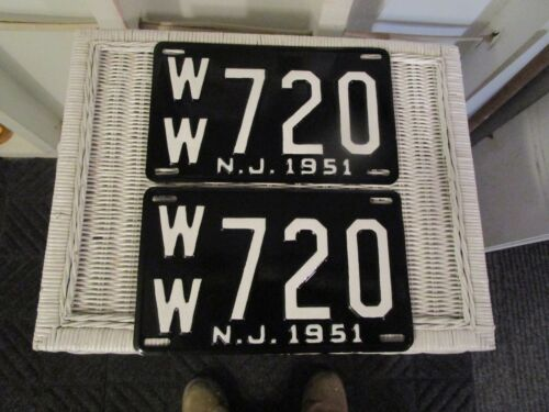 1951 NEW JERSEY  LICENSE PLATE    PAIR