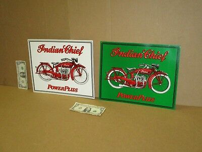 INDIAN CHIEF - Power Plus - *TWO SIGN SET for ONE BID - American Motorcycle